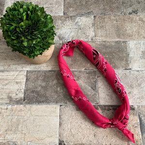 Rich Pink Bandana Print Neck/Hair Scarf